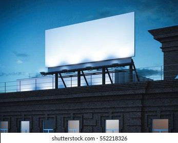 Blank billboard standing on classic brick building in the dark night. 3d rendering
