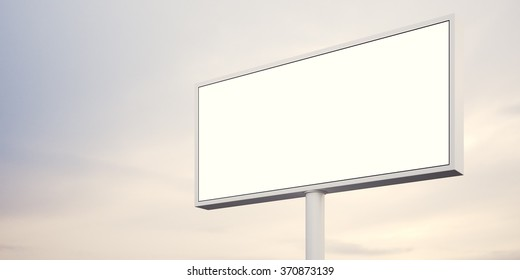 Blank billboard at sunset time ready for advertisement. abstract background. 3d render
