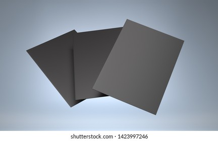 Blank Black A4 Brochures, Flyers. Flaying Cards Isolated On Dark Background. 3D render