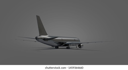 Blank black airplane mock up stand, backside view isolated, depth of field, 3d rendering. Empty charter boeing backwards mockup. Clear airbus for flying on dark background template.