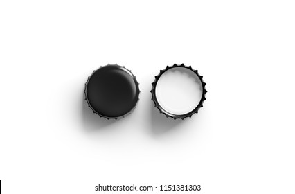 Blank black beer lid mockup, top view, front and back side, 3d rendering. Empty metal soda cap mock up design template. Clear bottle cover isolated.