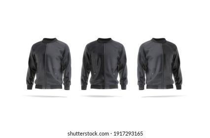 Blank black bomber jacket mockup, front and side view, 3d rendering. Empty windproof sweatshirt with zipper mock up, isolated. Clear fabric wind breaker for spring outfit template.