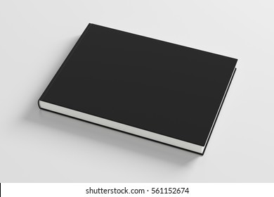 Blank black book cover on white background. Isolated with clipping path. 3d render