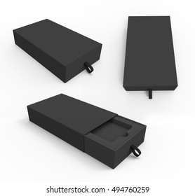 Blank black box with rope in 3 different views. Box for smartphones, software and other things. Mockup. 3D illustration