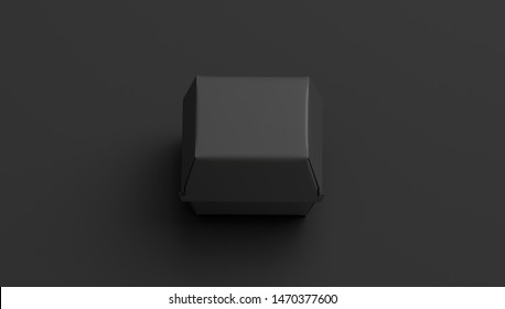 Blank black burger box mockup, isolated on dark background, 3d rendering. Empty portable snack pack mock up, top view. Clear paper container mokcup with fast food for takeaway order template.
