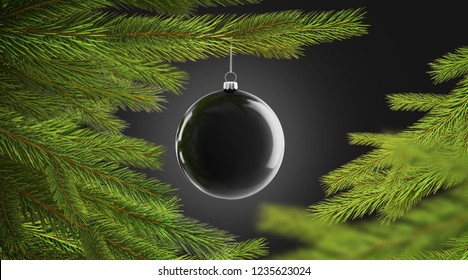 Blank black christmas tree ball hanging on pine mockup, isolated on dark background, depth of field, 3d rendering. Empty bubble on spruce branch mock up. Nativity decor on green tre template .
