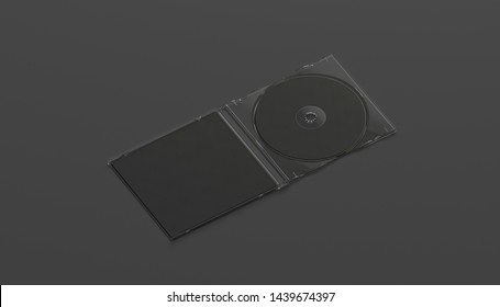 Blank black compact disk case mock up opened, side view, isolated, 3d rendering. Empty dark blu-ray disc with movie mockup. Clear writable cd-rom in pack for backup software template.