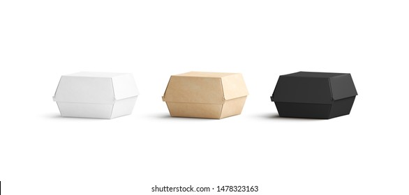 Blank black, craft and white burger box mockup set, isolated, 3d rendering. Empty lunch order with nuggets mock up, front view. Clear carton boxed for take away delivery template.