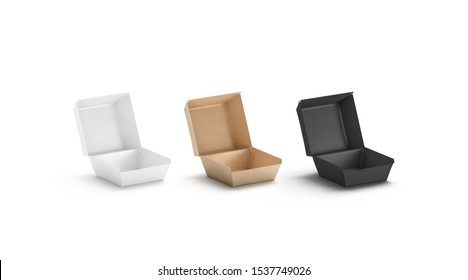 Blank black, craft and white opened burger box mock up set, 3d rendering. Empty fast food combo boxed mockup, isolated. Clear takeaway order with deluxe hamburger, side view. Happy meal pack template.