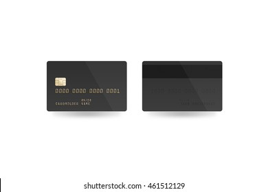 Blank black credit card mockup isolated,  front and back side, 3d illustration. Empty plastic card mock up. Clear surface gray bank card with electronic chip. Debit card design template.
