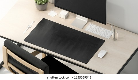 Blank black desk mat on work table mockup, top view, 3d rendering. Empty placemat accessory for display and gadget mock up. Clear waterproof long surface for keyboard mokcup template.