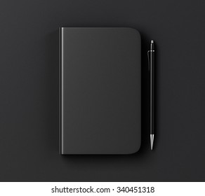 Blank black diary cover and pen on black table, mock up 3D Render