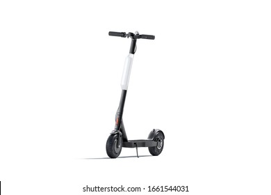 Blank black electric scooter with white banner mock up, isolated, 3d rendering. Empty skouter urban horly rent mockup, front view. Clear automatic eco transport with signage mokcup template.