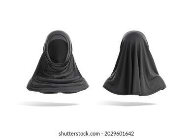 Blank black female al-amira mockup, front and back view, 3d rendering. Empty fabric or chiffon headwear for religious traditional mock up, isolated. Clear women head-covering burka template.