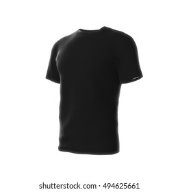 Blank Black Men's or Male T-shirt design template. 3D Rendering.