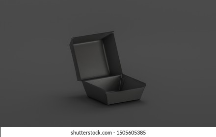 Blank black opened burger box mockup, isolated on dark background, 3d rendering. Empty lunch boxed mock up, side view. Clear carton container mokcup for take away cheeseburger or nuggets darkness.