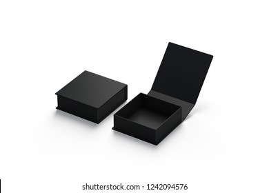 Blank black opened and closed gift box mockup set, isolated, 3d rendering. Empty luxury box for year anniversary mock up, side view. New pack for surprise on valentine day template.