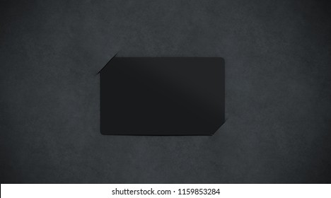 Blank black paper card holder mockup top view, 3d rendering. Empty dark plastic card inside paper sheet mock up. Customer loyal booklet template