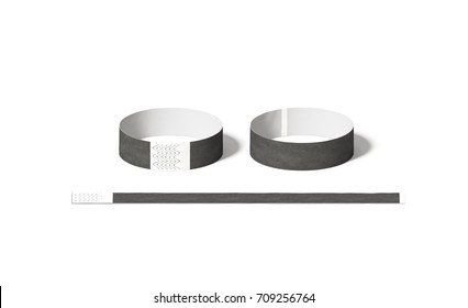 Blank black paper wristbands mock ups, front and back side view, 3d rendering. Empty event wrist bands design mockup. Cheap hand bracelets template, isolated. Clear concert bangle wristlet set.