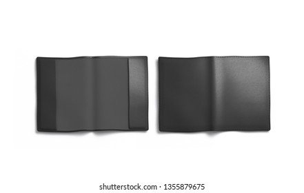Blank black passport cover mockup, front and back, isolated, 3d rendering. Empty e-passport jacket mock up, top view. Clear envelope for id document template.