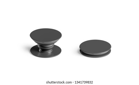 Blank black phone pop socket mock up, isolated, side view, 3d rendering. Empty glue grip for case mockup. Clear folded and unfolded round clip template.