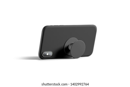 Blank black phone popsocket sticked on cellphone mockup, lying isolated, side view, 3d rendering. Empty dark pop socket round holder opened for smart phone mock up. Clear attached grip on mobile.