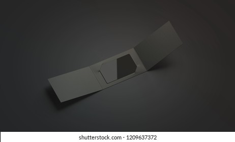 Blank black plastic card mockup inside opened paper booklet holder, isolated on dark background, 3d rendering. Empty gift card in envelope mock up. Clear package with certificate for loyal program.
