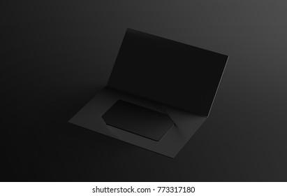 Blank black plastic card mockup inside paper booklet holder, 3d rendering. Clear loyalty program folded brochure with certificate mock up. Customer loyal booklet envelope template.
