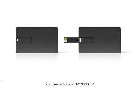 Blank black plastic wafer usb card mock up, opened and closed, clipping path, 3d rendering. Visiting flash drive namecard mockup. Call-card disk wallet presentation. Flat credit stick adapter design