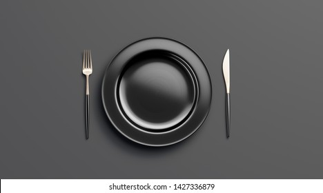 Blank black plate mockup with fork and knife, top view, isolated, 3d rendering. Clear ceramic dishware with set cutlery design. Empty dark table ware for lunch or dinner in cafe and flat template.