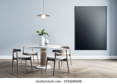 Blank black poster on light wall in dining room with modern white furniture with golden details and wooden parquet. Mock up, 3D rendering