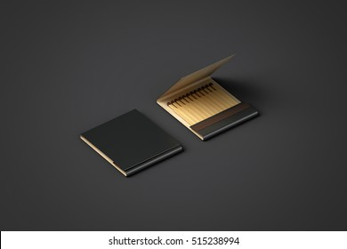 Blank black promo matches book mock up, clipping path, 3d rendering. Paper match box packaging mockup. Matchbook case top side view. Opened matchbox presentation.
