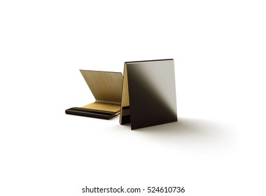 Blank black promo matches book mock up, 3d rendering. Dark paper match box packaging mockup.