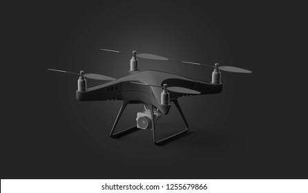 Blank black quadcopter mockup, stand isolated on dark background, 3d rendering. Empty fly quadrocopter mock up, side view. Digital dron for filming template. Modern robot with propeller and camera.