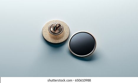 Blank black round gold lapel badge mock up, front and back side view, 3d rendering. Empty luxury hard enamel pin mockup. Golden clasp design template. Expensive curcular brooch for logo presentation