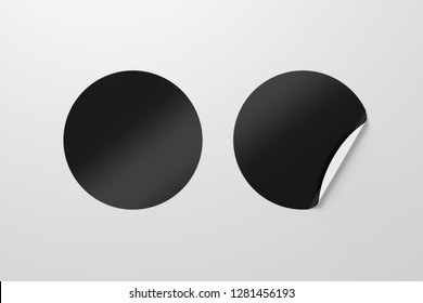 Blank black round stickers straightened and with folded corner on white background. With clipping path around stickers. 3d illustration.