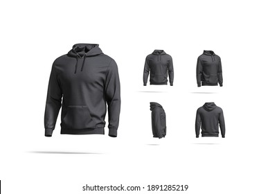 Blank black sport hoodie with hood mock up, different views, 3d rendering. Empty cloth hooded sweater mockup, isolated. Clear street jersey sweat-shirt or tolstovka for men template.