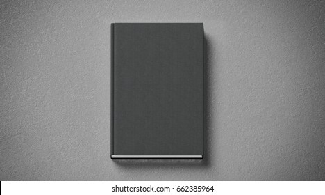 Blank black tissular hard cover book mock up, front side view, 3d rendering. Empty notebook hardcover mockups, isolated. Bookstore branding template. Plain textbook with clear binding. Booklet above