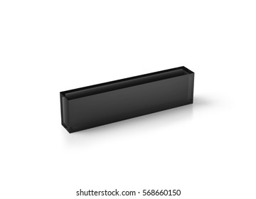 Blank black transparent acrylic desk block mockup, 3d rendering. Dark glass name plate design mock up. Grey plastic namplate template isolated on white. Corporate stationery rectangle