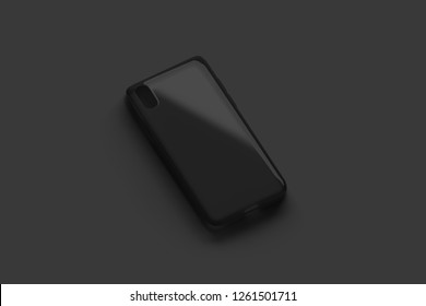 Blank black transparent phone case mockup, isolated on dark surface, 3d rendering. Empty matt accessories mock up, left side view. Clear flexible covering design. Protection for smartphone template.