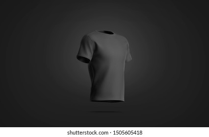Blank black t-shirt mock up, isolated on dark background, 3d rendering. Empty casual short mockup, side view. Clear teen socer mokcup wear for jersey sport template.