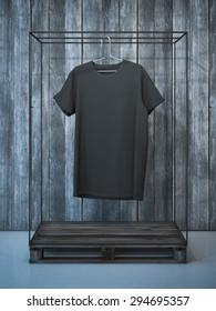 Blank black t-shirt on hanger. 3d rendering