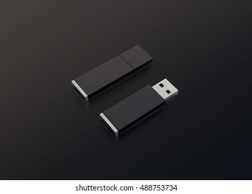 Blank black usb drive design mockup, 3d rendering, opened and closed, clipping path. Clear plastic flash disk template. Plain memory device mock up. Dark pen drive branding presentation. Micro card.