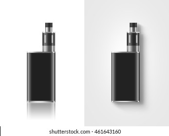Blank black vape mod box mockup isolated, stand and lies, 3d illustration. Clear smoking vapor mock up template. Modbox vaporizer device presentation. E-cigarette vaping gear design.