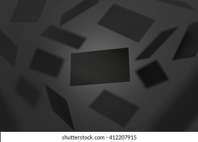 Blank black visiting cards falling, 3d rendering. Namecard design mockup. Visit clear dark cards mock up presentation. Calling card template for company branding name, phone number, email address.