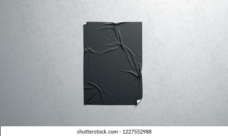 Blank black wheatpaste adhesive poster mockup on textured wall, 3d rendering. Empty glue urban sheet mock up. Wall mounted canvas for cinema affiche. Grunge placard for branding.