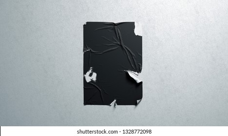 Blank black wheatpaste adhesive torn poster mockup white textured wall, 3d rendering. Empty tattered affiche mock up. Clear disrupted cinema affiche. Old advertising sheet template.