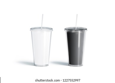 Blank black and white acrylic tumbler with straw mockup set, isolated, 3d rendering. Empty glass container with tube mock up. Clear traveler bottle for beer or cola template. Acryl mug for design.