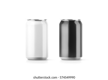 Blank black and white aluminium soda can mockup, 3d rendering. Empty beer tin packing mock ups set, isolated. Canned drink jar packaging design template. Plain fizzy pop bank package branding.