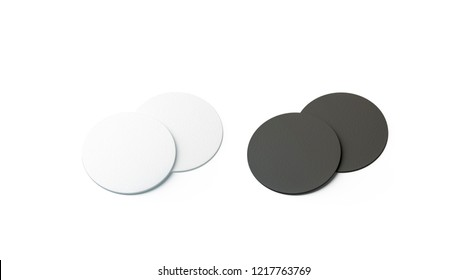Blank black and white beer coasters mockup set, isolated, 3d rendering. Empty pile of bottle rug mock up. Clear round table-mat template. Cardboard protection for beverage.